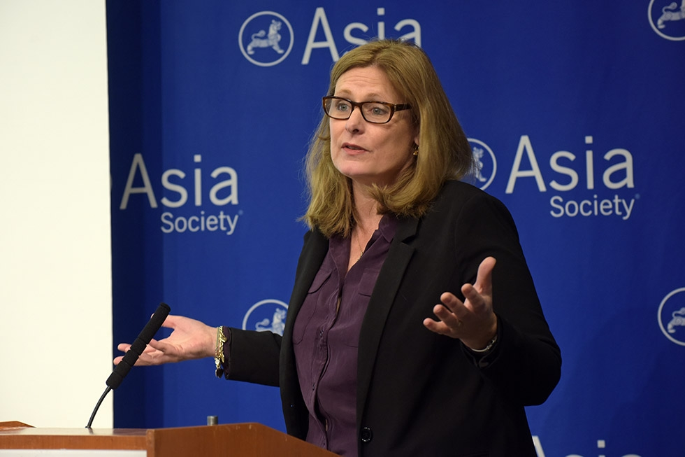 "Sarah Brown, executive chair of the Global Business Coalition for Education, delivers opening remarks at ""Educating for Citizenship in a Global World"" on September 29. The event discussed the role of education in the 2030 Sustainable Development Goals, approved by the UN General Assembly a week prior. (Elsa M. Ruiz/Asia Society)"