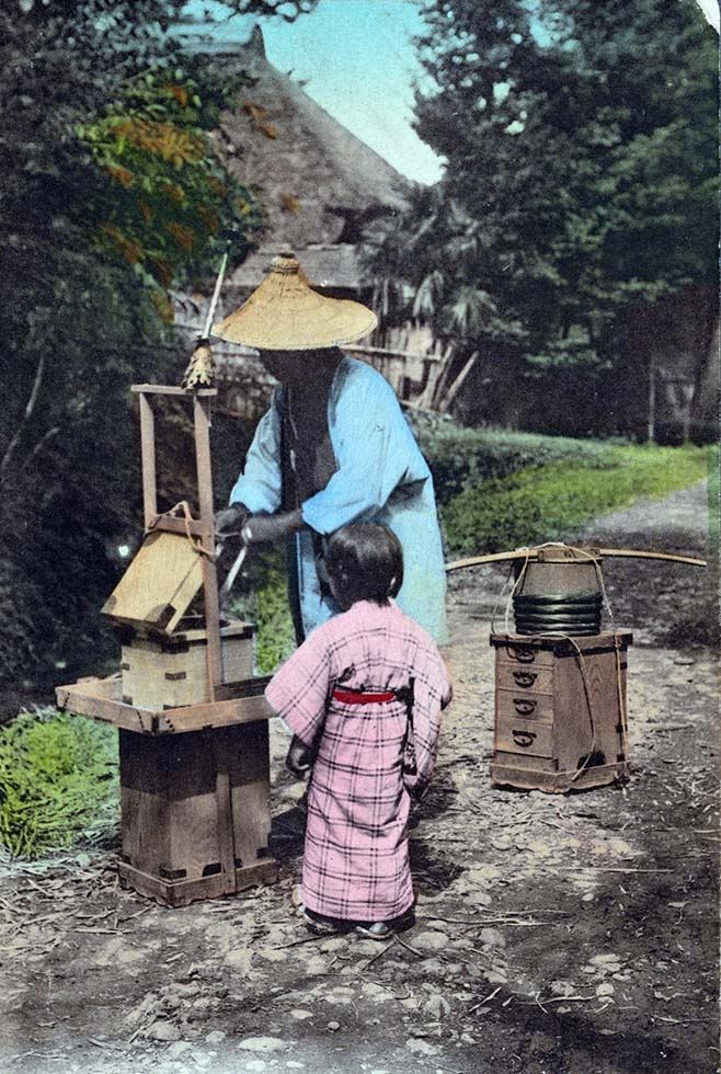 """A Japanese cake (ame) seller."" 1907-1919. (New York Public Library)"