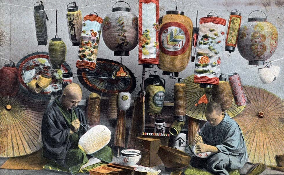 """Lantern makers, Japan."" 1907-1919. (Theodor Eismann/New York Public Library)"