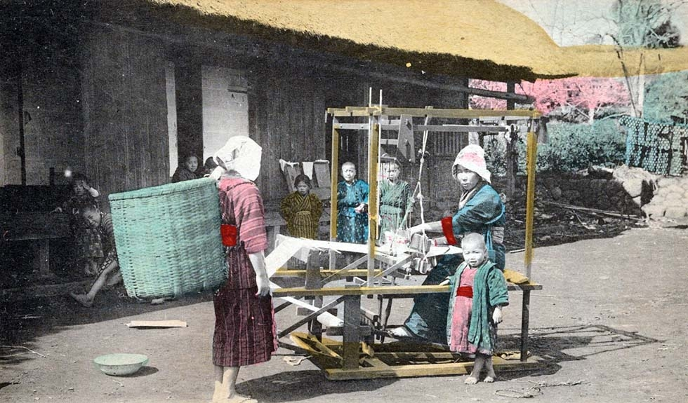 """Weaving to cloth."" 1901-1909. (New York Public Library)"