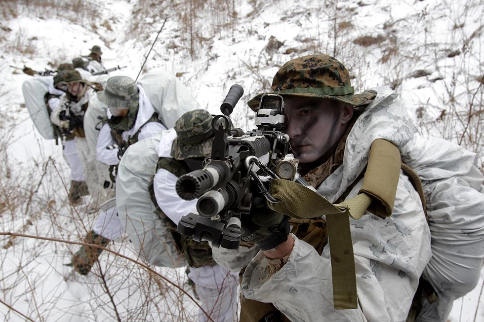 U.S. Marines from 3rd Marine Expeditionary force deployed from Okinawa, Japan, participate in the winter military training exercise with South Korean soldiers on January 28, 2016 in Pyeongchang, South Korea. (Chung Sung-Jun/Getty)
