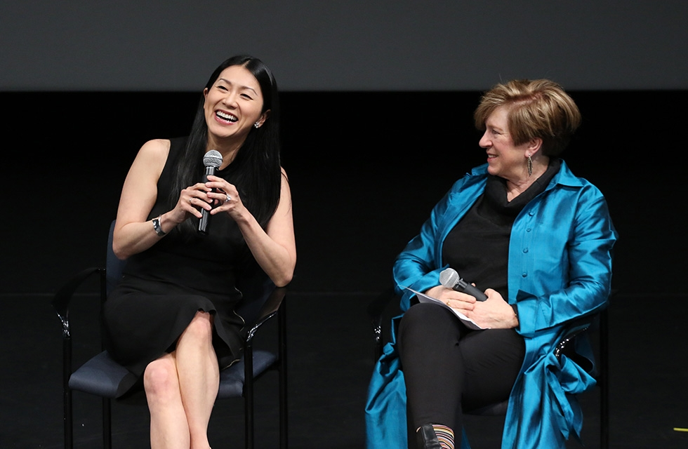 'Paradise Interrupted' translator and interpreter Dr. Agnes Hsu-Tang (left) with Rachel Cooper, Director of Global Performing Arts and Special Cultural Initiatives at Asia Society, on April 5, 2016. (Ellen Wallop/Asia Society)