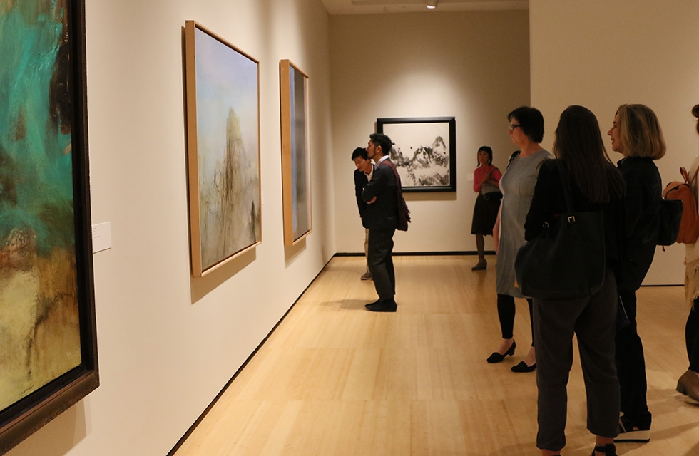 Members see the first-ever retrospective of Zao Wou-Ki's work at Asia Society Museum in New York on September 12, 2016. (Ellen Wallop/Asia Society)