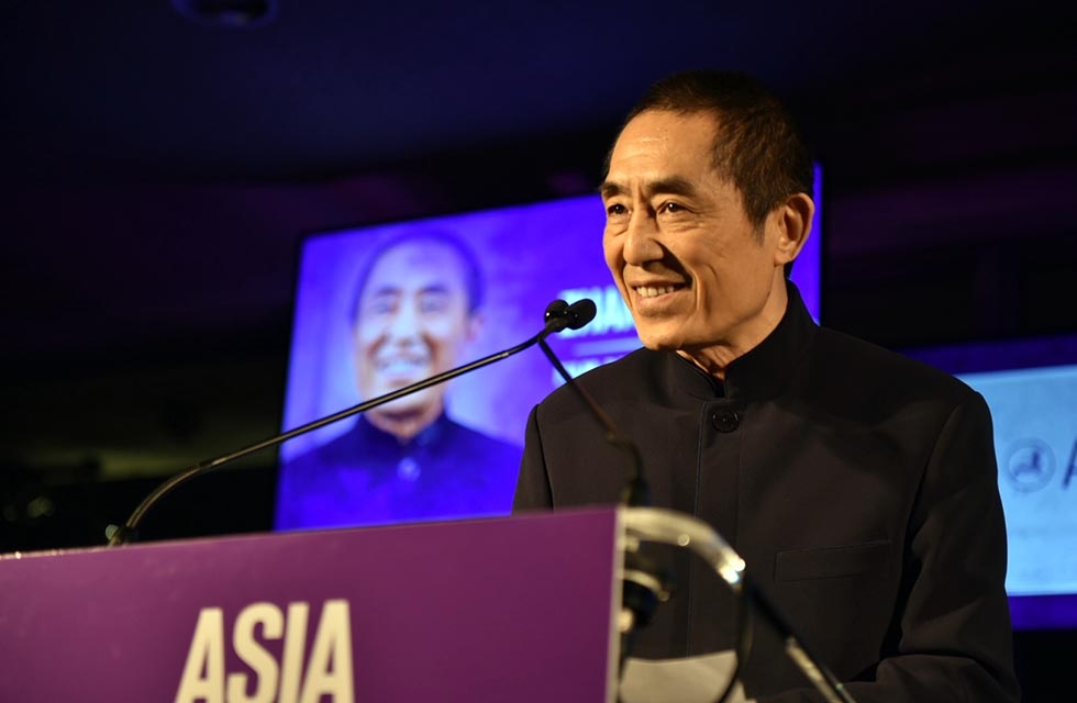 Zhang Yimou accepts his Asia Game Changer Award at the United Nations on October 27, 2016. (Jamie Watts/Asia Society)