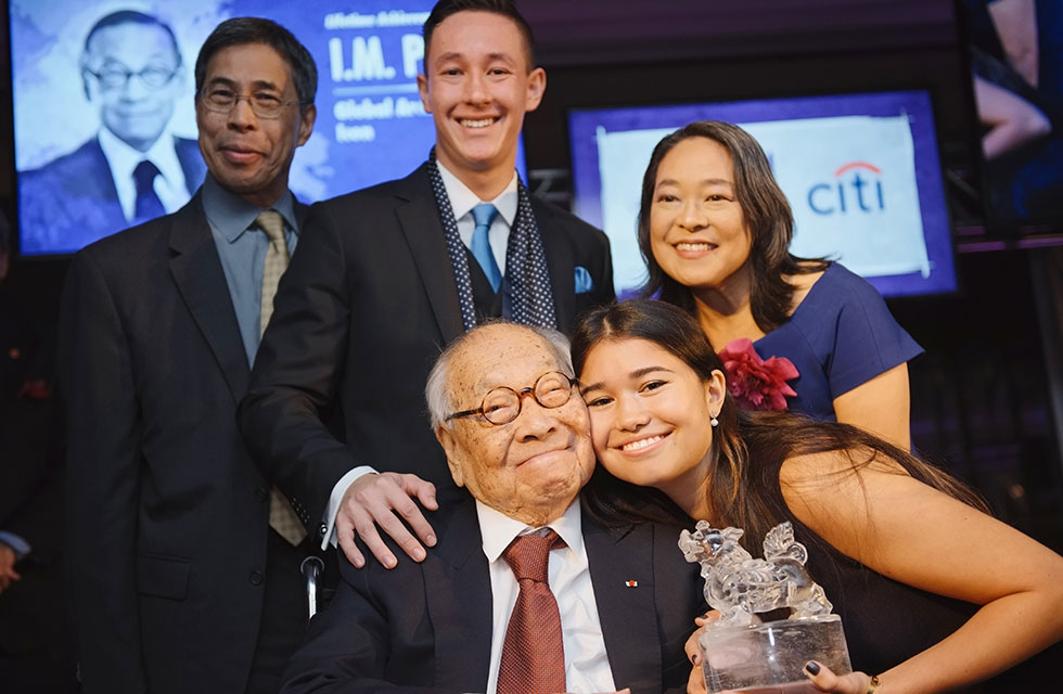 Renowned architect I.M. Pei (seated, middle) is photographed with his family as he accepts the Lifetime Achievement Award at the 2016 Asia Game Changer Awards gala at the United Nations Headquarters in New York on October 27, 2016. (Asia Society/Jamie Watts)