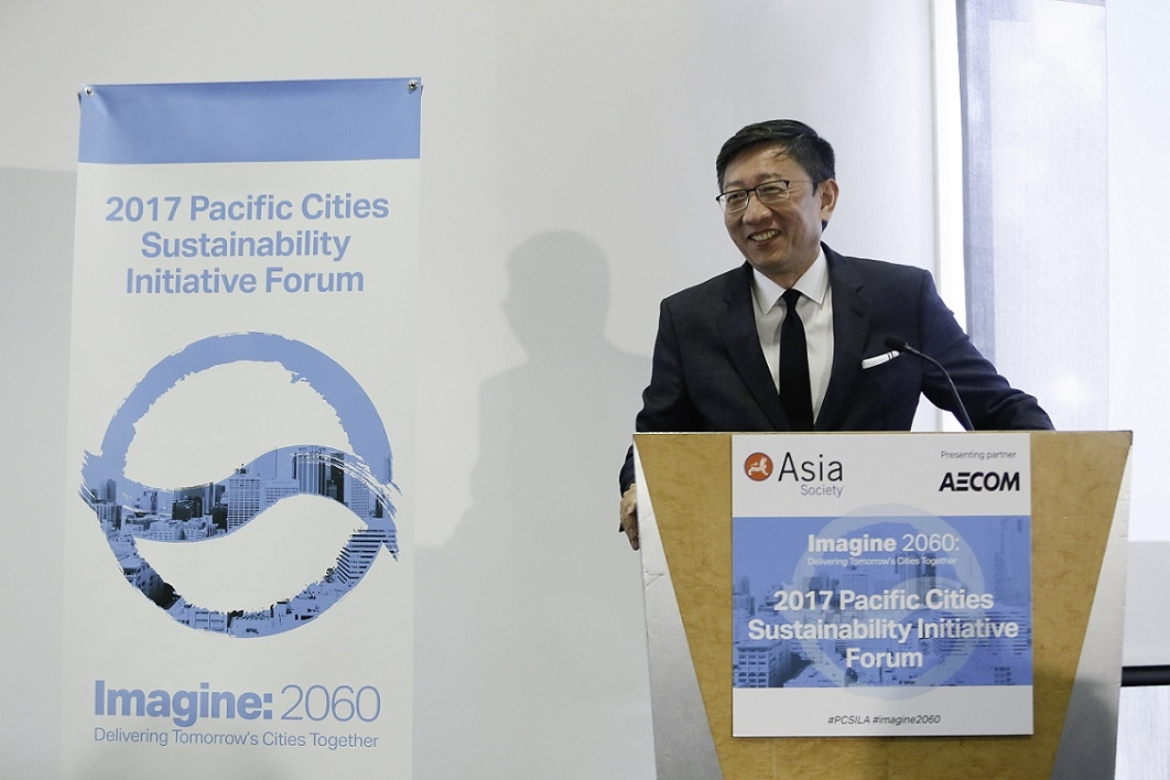 "Sean Chiao, President of Asia Pacific for AECOM, closes ""Imagine 2060: Delivering Tomorrow's Cities Together."" (Photo by Ryan Miller/Capture Imaging)"
