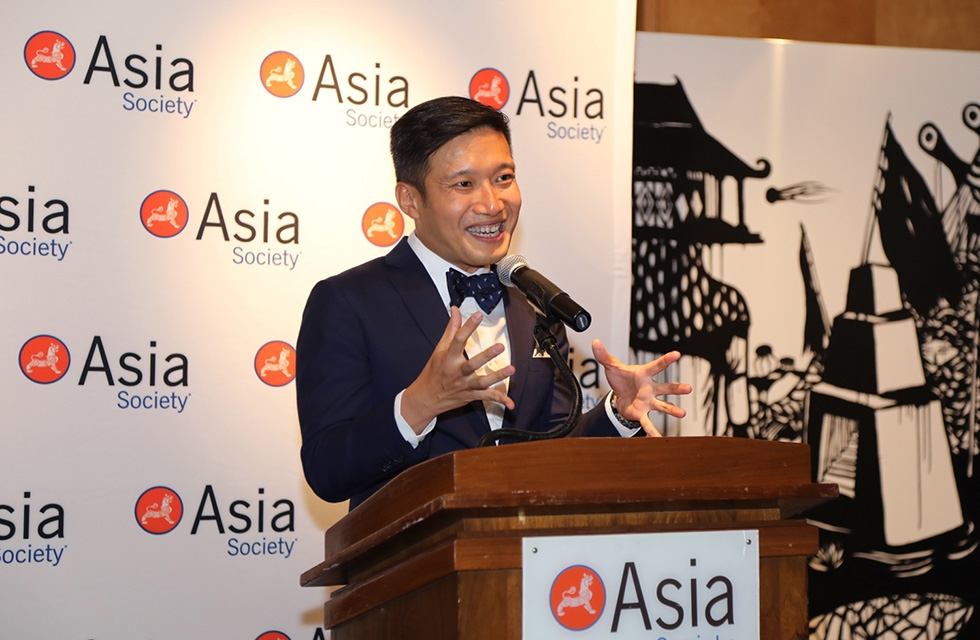 Kennie Ting, director of the Asian Civilisations Museum in Singapore, addresses attendees during the exhibition opening at Asia Society New York on March 7, 2017. (Ellen Wallop/Asia Society)