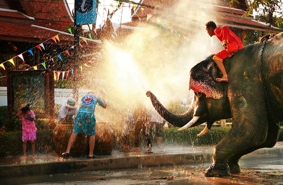 Songkran Festival is also celebrated with Thailand's elephants on April 15, 2011, in Bangkok, Thailand. (duron123/Getty Images)
