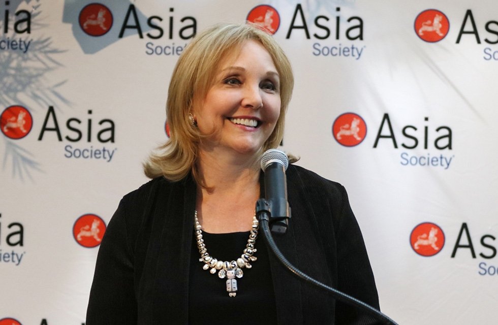 Asia Society President and CEO Josette Sheeran welcomes patrons and other special guests at Asia Society New York on June 27, 2017. (Ellen Wallop/Asia Society)