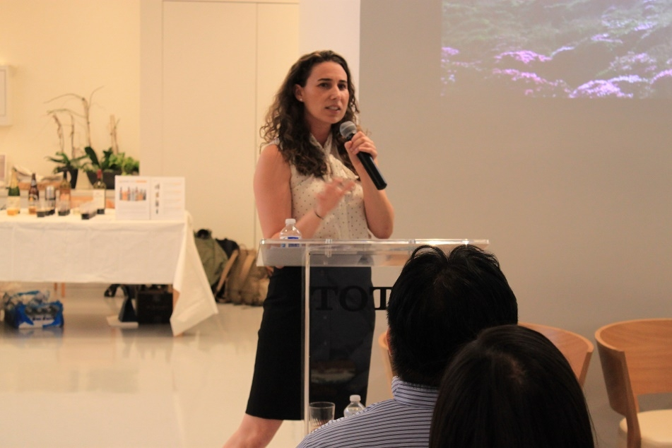 Melissa La Bouff, a member of the YPG Leadership Council, spoke about various hiking experiences in the Kirishima mountain range in Miyazaki. (Minlu Gan/Asia Society)