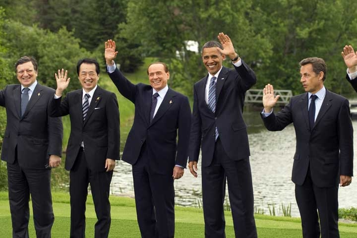 G8 leaders L to R: Jose Manuel Barroso, President of the European Commission, Naoto Kan, Prime Minister of Japan, Silvio Berlusconi, Prime Minister of Italy, Barack Obama, President of the US, and Nicolas Sarkozy, President of France, in Huntsville, Ontario on June 25, 2010. (Don Emmert/AFP/Getty Images)