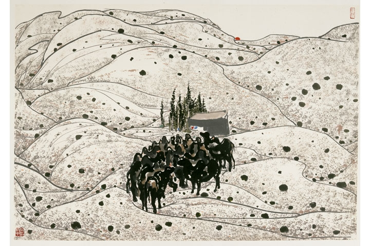 Wu Guanzhong, Camels in the Desert, 1981. Ink & color on paper, 69 x 99 cm. © Take a Step Back Collection