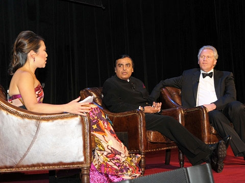 CNBC's Melissa Lee interviews Awards Dinner honorees Mukesh Ambani and Jeffrey Immelt onstage at the Waldorf=Astoria on Nov. 16, 2010. (9 min., 10 sec.)