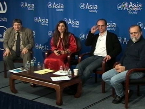 L to R: Richard Peña, Negar Mottahedeh, Hadi Ghaemi, and Hamid Dabashi speaking in New York on Mar. 2, 2011. (Asia Society New York)