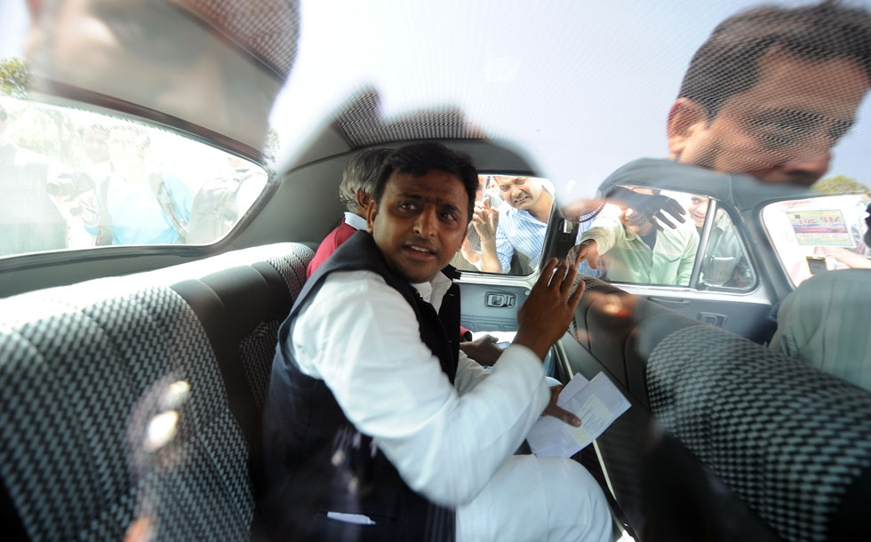 Samajwadi Party leader and designate chief minister for Uttar Pradesh Akhilesh Yadav leaves parliament after the opening of the budget session in New Delhi on March 12, 2012. (Prakash Singh/AFP/Getty Images)