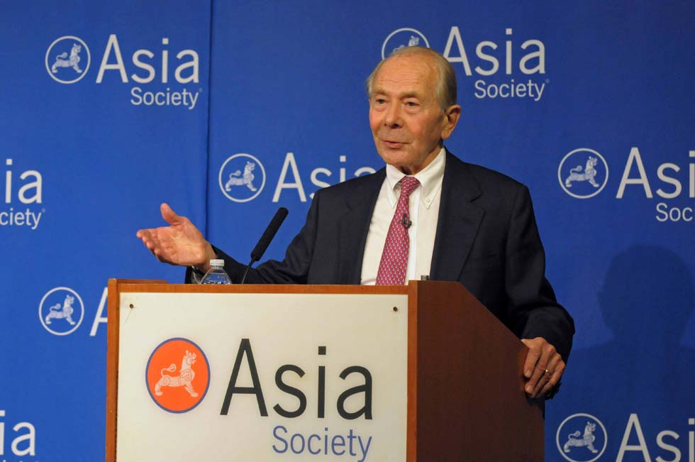 "Former Chairman and CEO of American International Group Maurice ""Hank"" Greenberg discussed his new book ""The AIG Story"" at Asia Society New York. (Elsa Ruiz/Asia Society)"