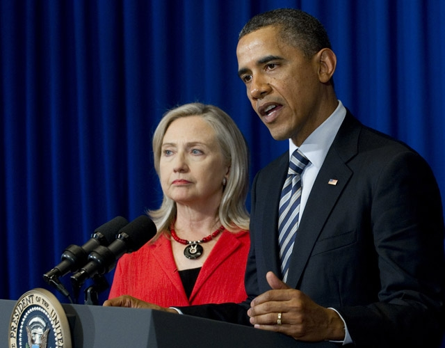 US President Barack Obama speaks alongside US Secretary of State Hillary Clinton in Indonesia on November 18, 2011. (Saul Loeb /AFP/Getty Images)