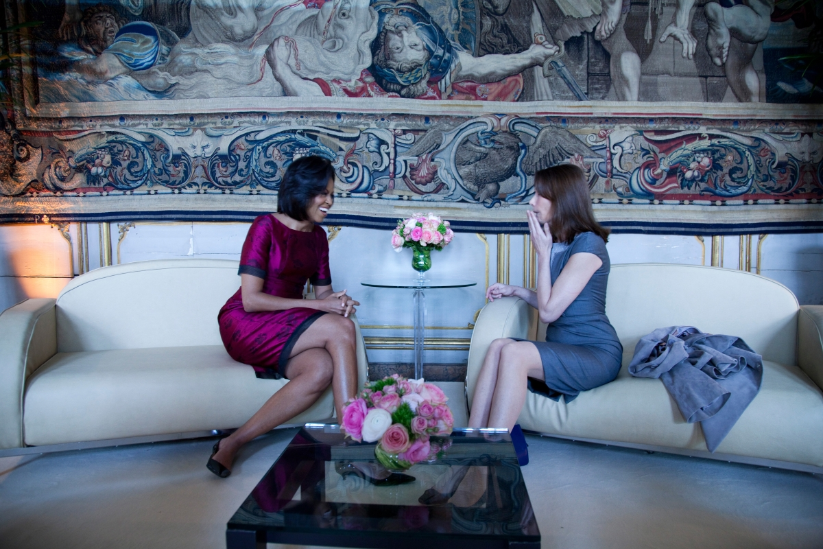 Wearing Thakoon Panichgul while meeting with Carla Bruni-Sarkozy at the Palais Rohan on April 3, 2009, in Strasbourg, France. (Chuck Kennedy/White House)
