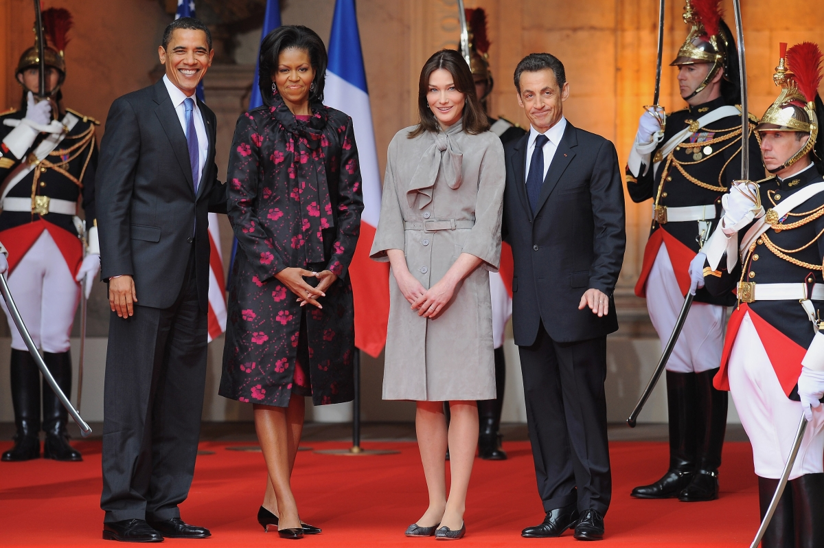 Wearing Thakoon Panichgul to meet with French President Nicolas Sarkozy and First Lady Carla Bruni-Sarkozy on April 3, 2009 in Strasbourg, France. (Pool/Getty Images)