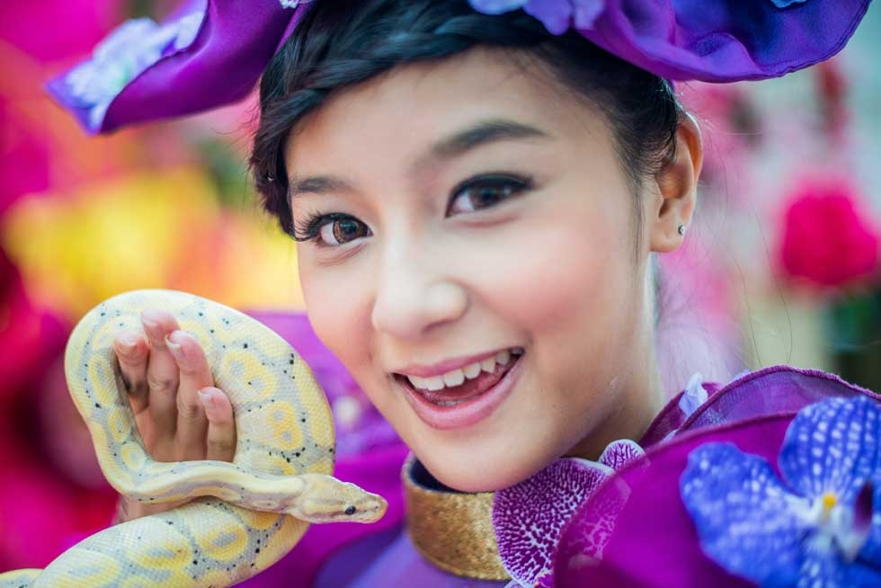 A model poses with a snake during a snake display to promote responsible breeding and pet ownership in Hong Kong on January 10, 2013. (Philippe Lopez/AFP/Getty Images)