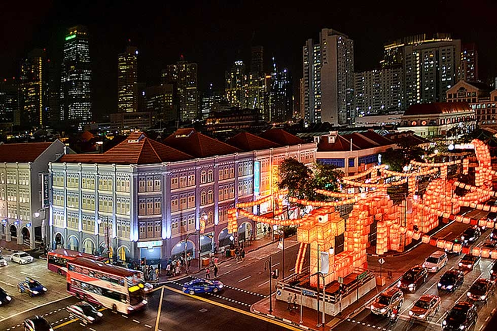 A 108-meter-long snake sculpture made from 5,000 red cube-shaped lanterns illuminates Singapore's Chinatown for the Lunar New Year celebrations on January 30, 2013. (chooyutshing/flickr)