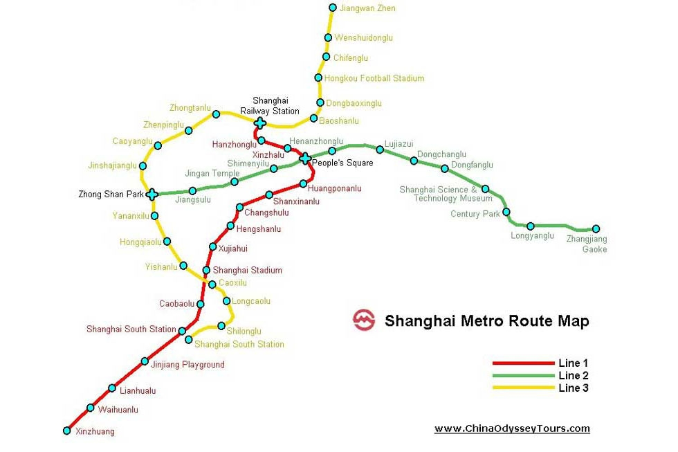 Like Beijing, Shanghai had only three metro lines until 2005 (above), but rapidly expanded in the following years. (China Odyssey Tours)