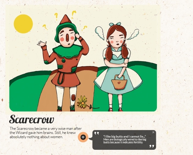 "The Scarecrow's predicament demonstrates dating awkwardness that the government is trying to mitigate. Some of the ""facts"" accompanying the illustrations are oddly irrelevant. (thesingaporeanfairytale.com)"