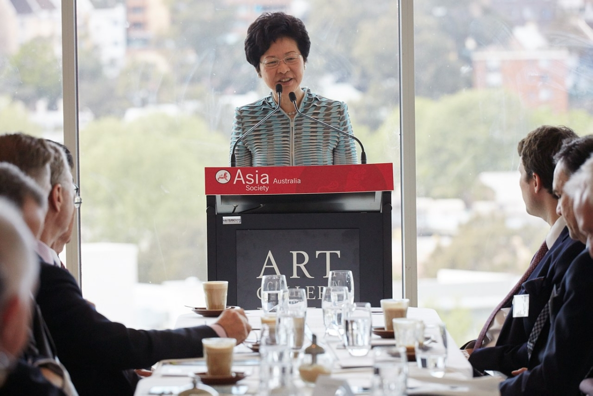 Carrie Lam, Chief Secretary of Hong Kong Government speaks at Asia Society Australia boardroom briefing, September 2015