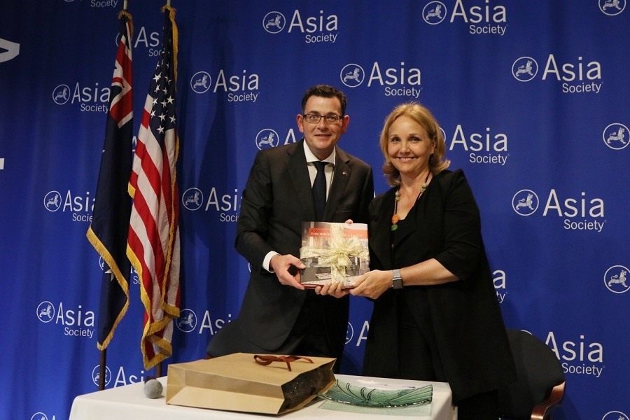 Victorian Premier Daniel Andrews and Asia Society President Josette Sheeran after the signing of the partnership agreement between Asia Society and Victorian Government, Asia Society, New York, 31 May 2016