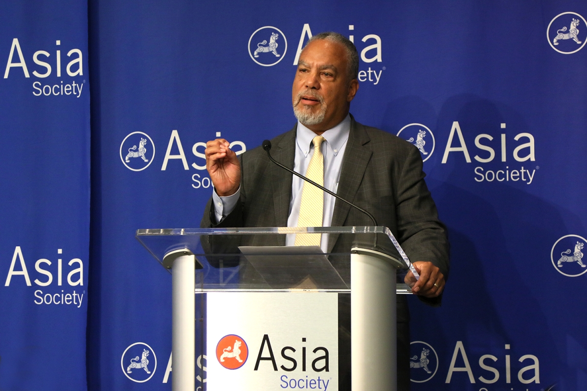 Dr. Anthony Jackson, Vice President of Education at Asia Society, speaks at the launch of the Center for Global Education at Asia Society in New York on September 22, 2016. (Ellen Wallop/Asia Society)
