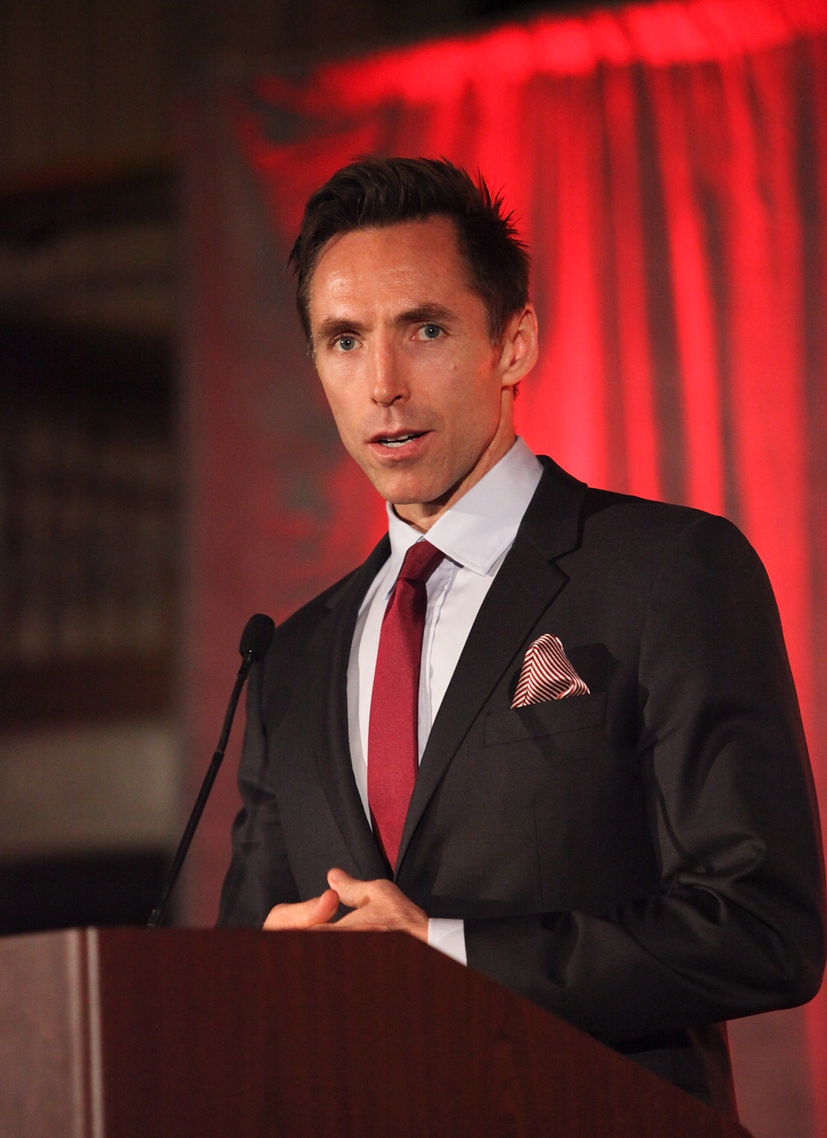 Steve Nash, LA Laker speaks during the Asia Society Southern California 2013 Annual Gala held at the Millennium Biltmore Hotel on Tuesday, February 19, 2013 in Los Angeles, Calif. (Photo by Ryan Miller/Capture Imaging)
