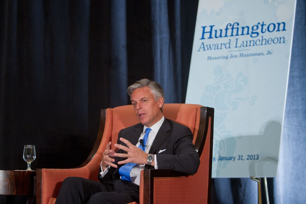 Huntsman answers a question from the audience. (Richard Carson)