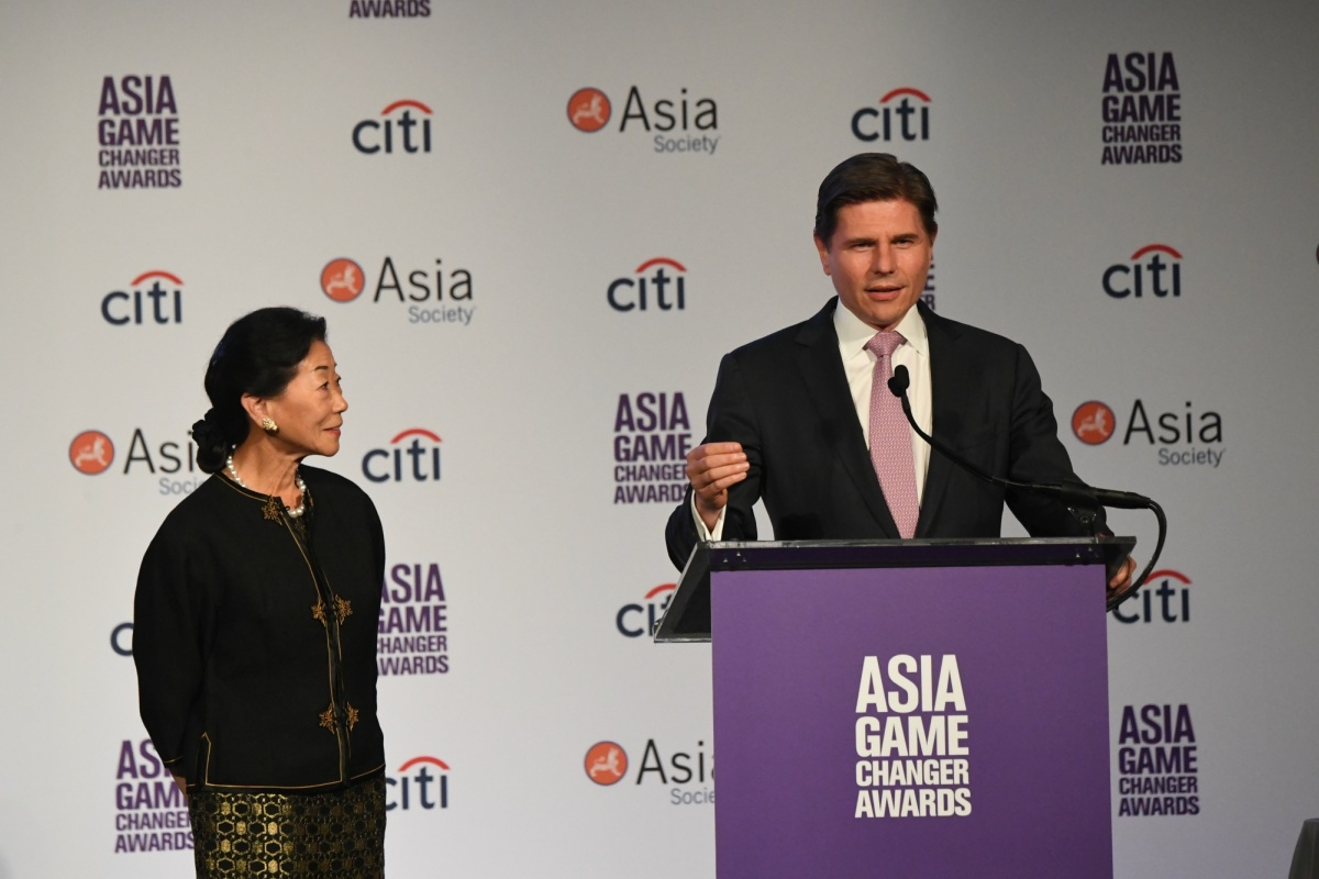 Lulu Wang and Nicolas Aguzin speak at the Asia Society Asia Game Changer awards