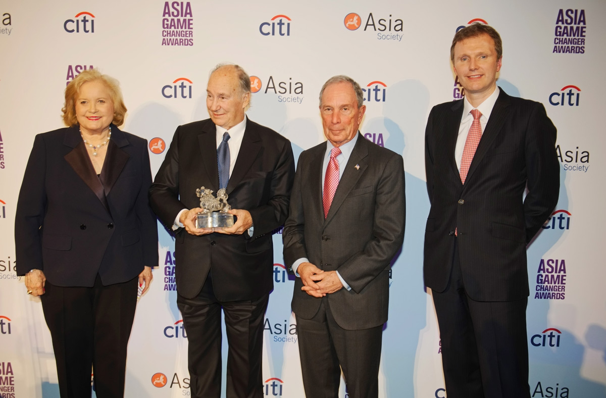 Sharon Rockefeller, the Aga Khan, Michael Bloomberg, and Stephen Bird pose with the