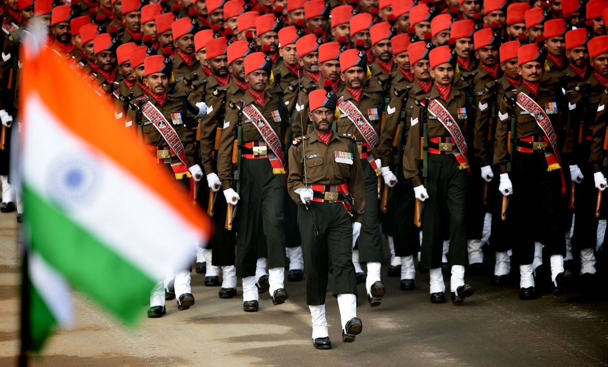 An Indian Army contingent marches during India's Republic Day march.