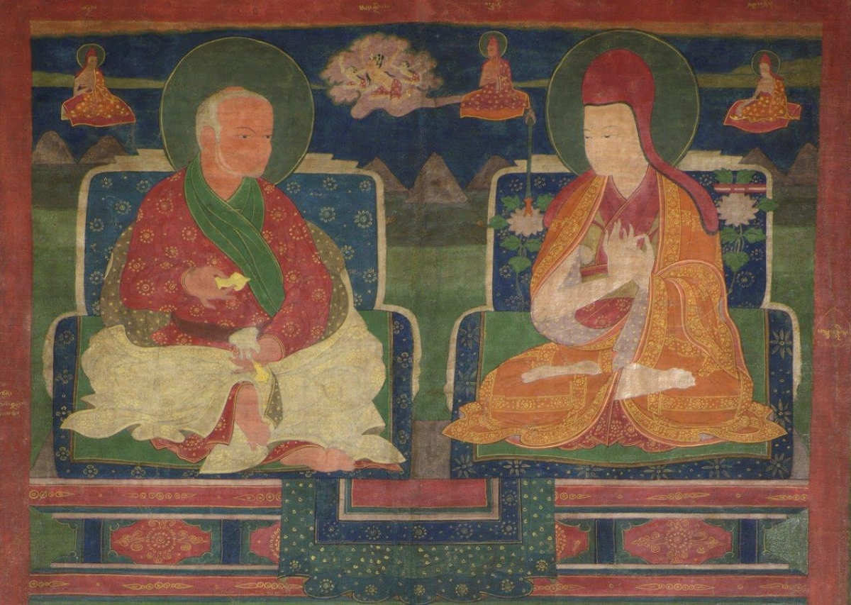 "(Detail) The Sakya Lamdre lineage (Lam 'bras rgyud). 16th–17th century CE. Tsang, Tibet. Pigment on cloth. H. 35 x W. 22 7/8 in. (89 x 58 cm). MU-CIV/MAO ""Giuseppe Tucci,"" inv. 882/715. Image courtesy of the Museum of Civilisation/Museum of Oriental Art ""Giuseppe Tucci,"" Rome."