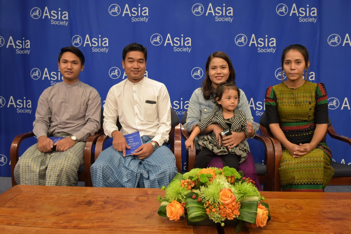 Family members of the 2018 Oz Prize honorees attended the awards luncheon: Win Khant Kyan, Thura Aung, Chit Suu Win, Nyo Nyo Aye, and two-year old Moe Thin Wai Zin.