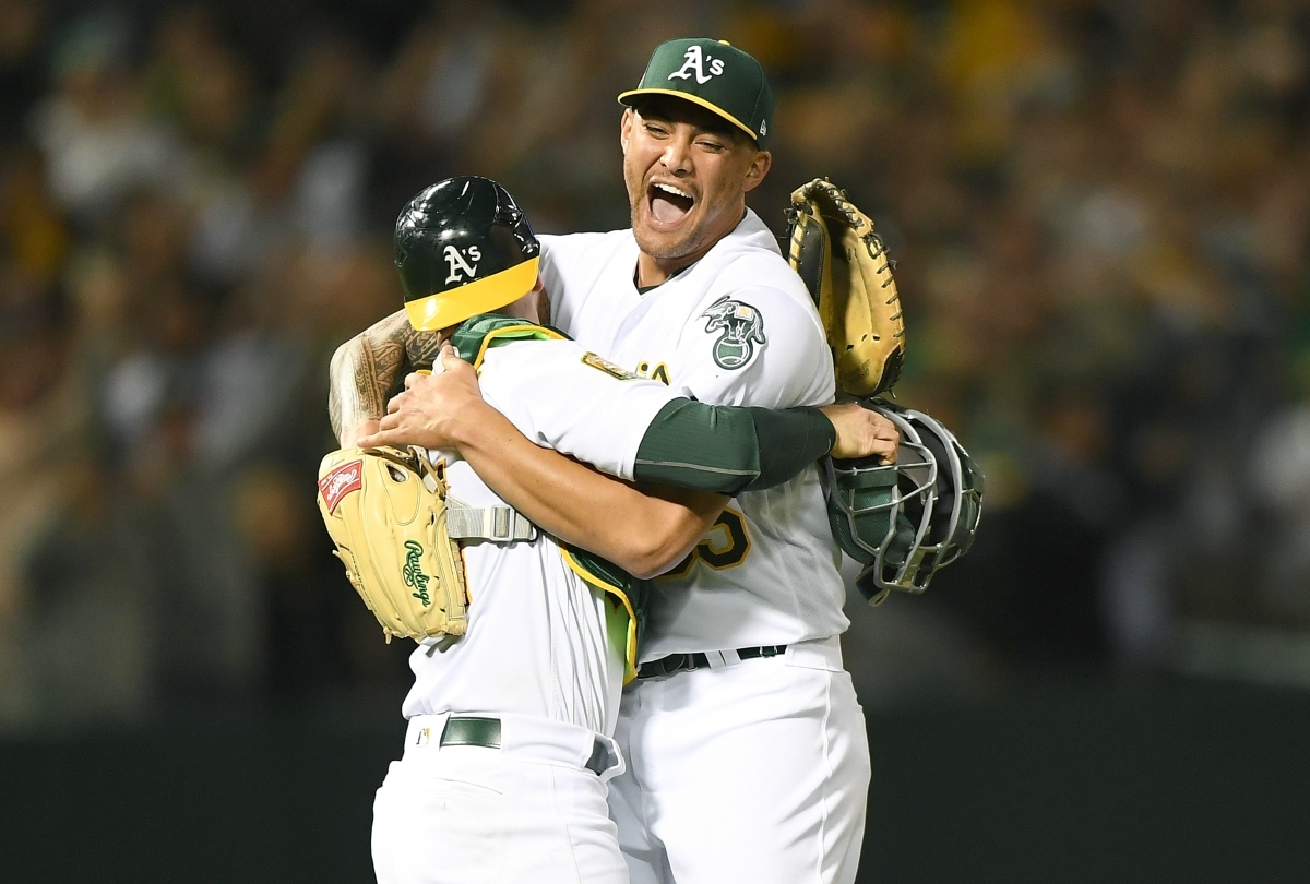 Sean Manaea celebrates after throwing a no-hitter against the Boston Red Sox.