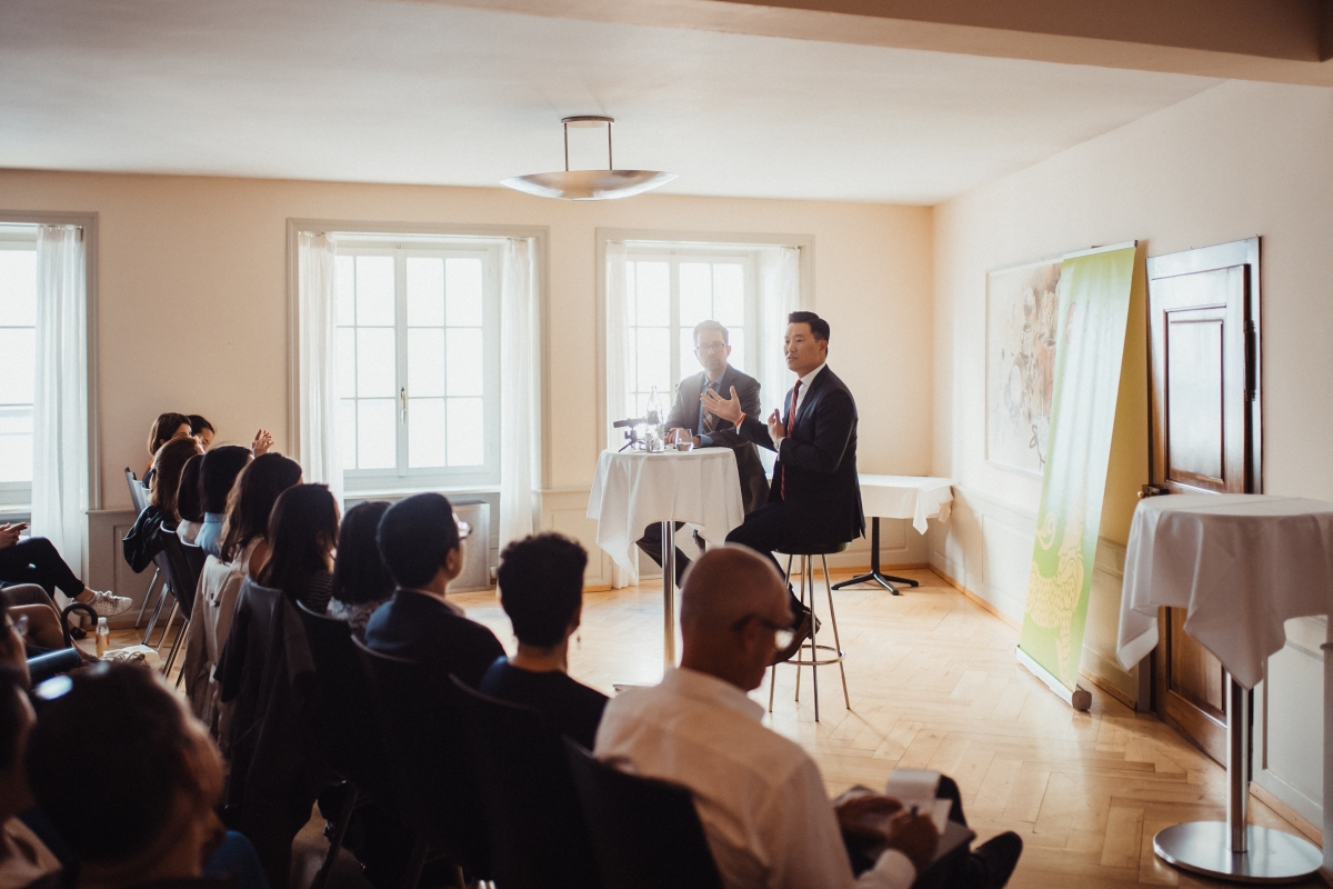 John Park speaking at Asia Society Switzerland in Zurich, May 29, 2018.