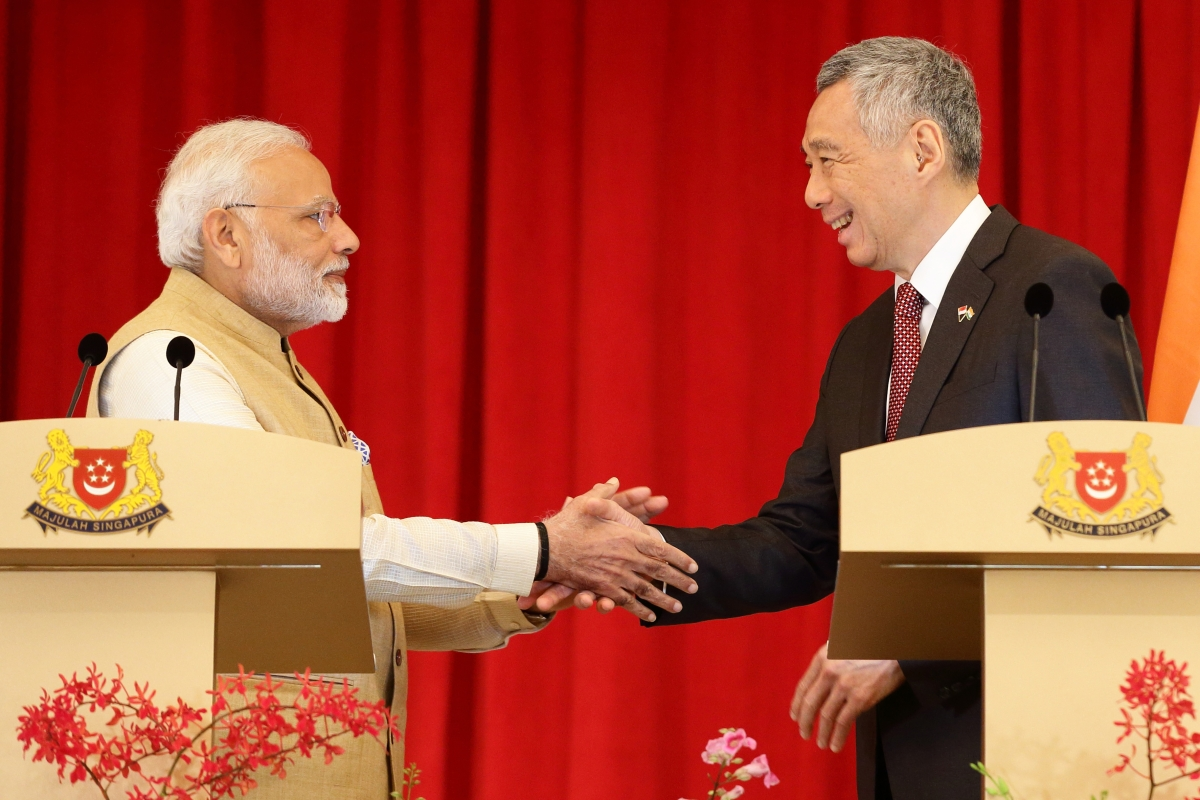 Narendra Modi and Lee Hsien Loong