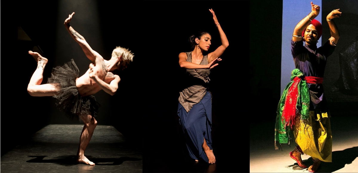 Paul Charbonneou solo in Holy Cow(s)!, choreographed by Sean Curran and Hari Krishnan, photo by Miles Brokenshire; Parul Shah, Enduring Silence, photo by Kasia Idzkowska; Kuldeep Singh, photo by Pablo Lecroisey Lara.