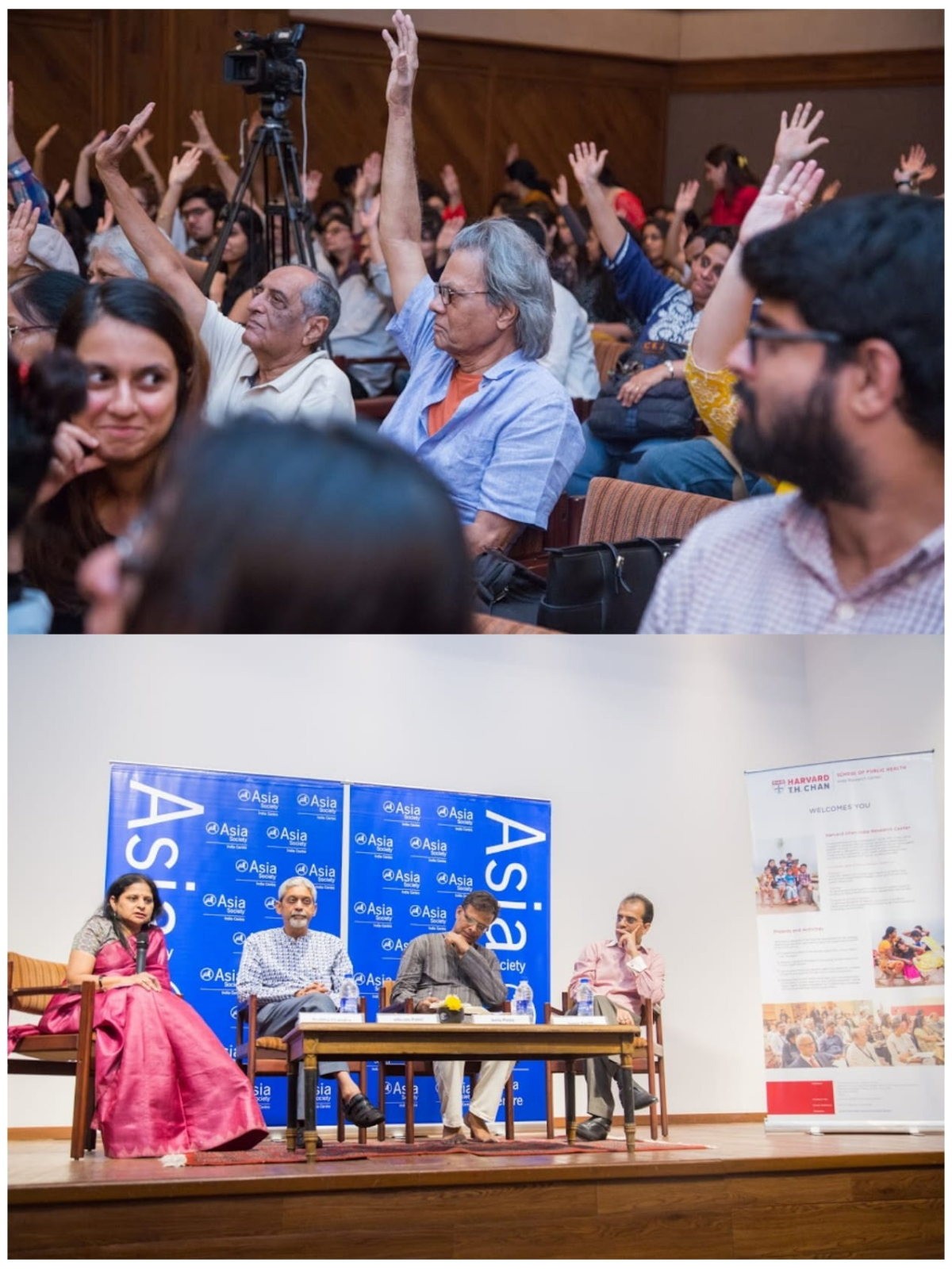 [L-R] Prabha Chandra, Vikram Patel, Jerry Pinto, Samir Parikh with audience