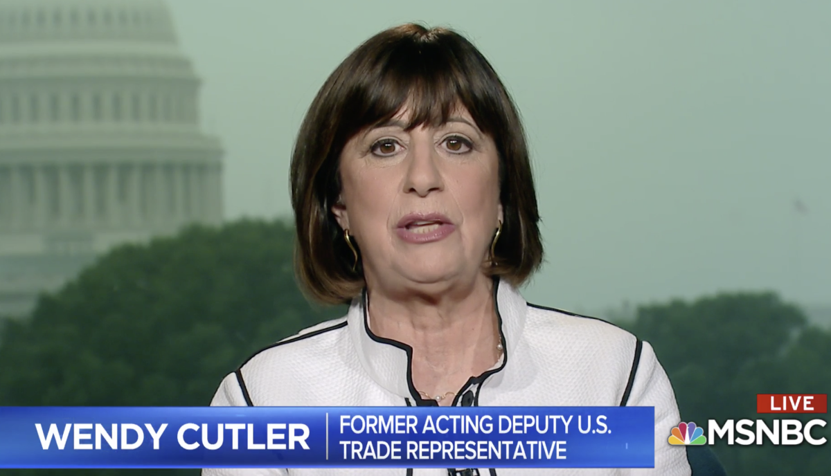 Wendy Cutler on MSNBC talking about US-China trade tensions.