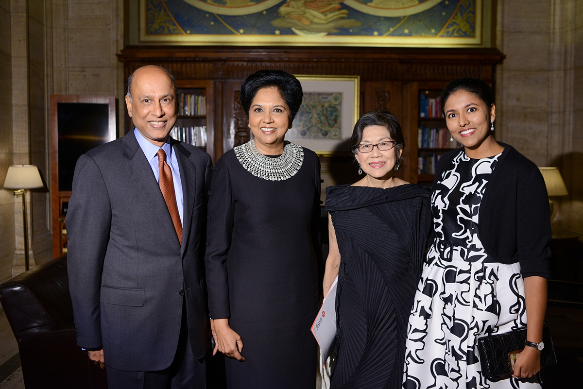 Indra Nooyi and family pose with Asia Society global co-chair Ambassador Chan Hang Chee