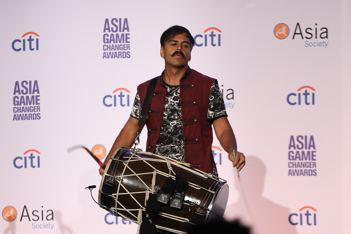 Dhol drummer Sunny Jain performs as part of Asia Game Changers 2018