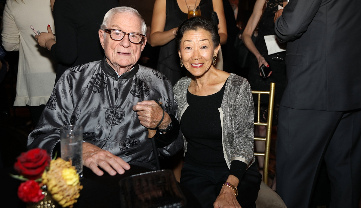 Former Asia Society President Nicholas Platt and trustee Lulu Wang share a moment at Asia Game Changers 2018