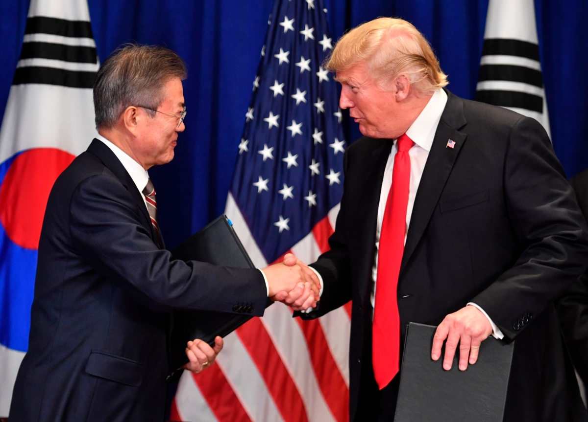South Korea President Moon Jae-in and U.S. President Donald Trump