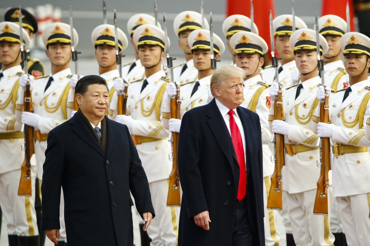 Donald Trump with Xi Jinping at Welcoming Ceremony in China