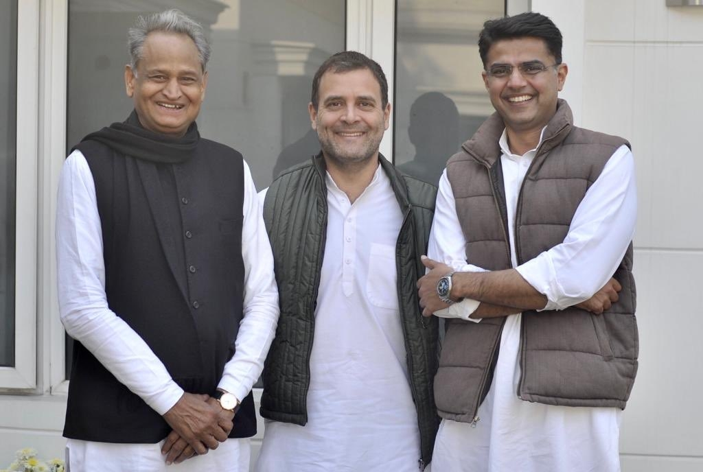 Sachin Pilot (right), with the newly elected chief minister of Rajasthan, Ashok Gehlot (left), and Rahul Gandhi (middle), President of Indian National Congress