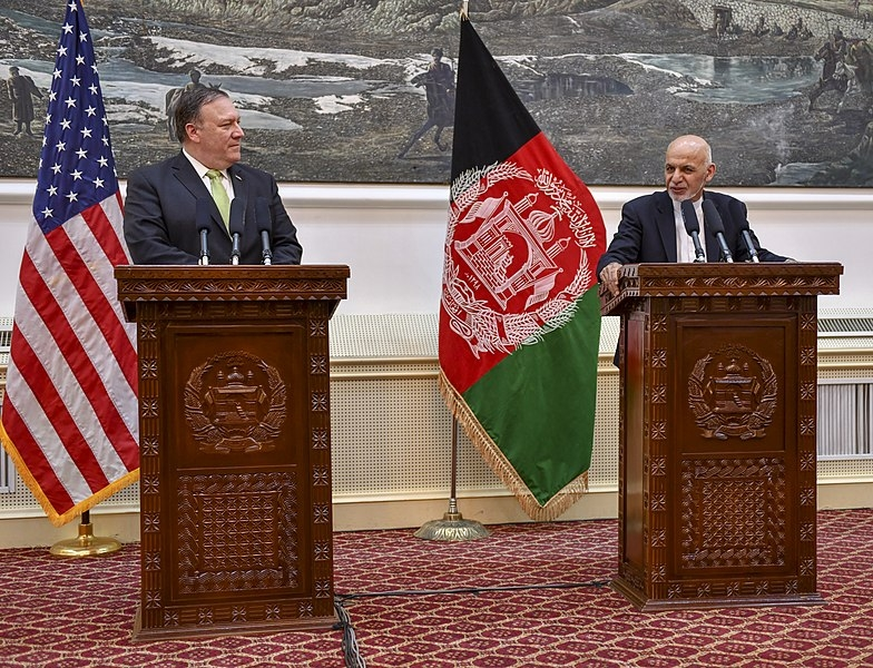US Secretary of State Michael Pompeo participates in a press conference with Afghanistan President Ashraf Ghani in Kabul, Afghanistan on July 9, 2018